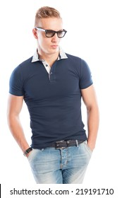 Blond male model with tide t-shirt, sunglasses and jeans