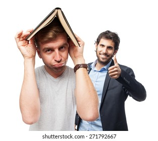 blond man with a book