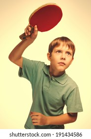 blond man boy playing table tennis forehand takes topspin isolated emotion gray large cross processing retro