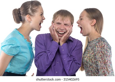 Blond man and two women on white background