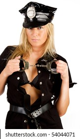 Blond sexy stripper in police uniform