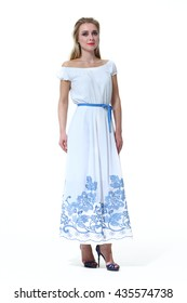 cef581c094457c blond slavic business executive woman with straight hair style in official  formal summer long blue belt