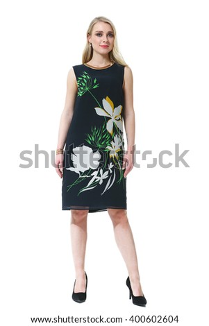 ca5ab90f4722c8 blond slavic business executive woman with straight hair style in summer  sleeveless printed floral dress high heel shoes going full body length  isolated on ...