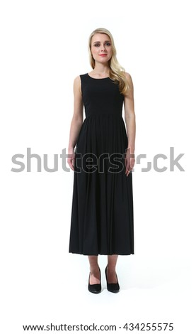 41b63b40ccf8cf blond slavic business executive woman with straight hair style in official  formal summer black sleeveless dress