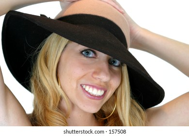 Blond Smiling in a hat