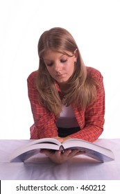 blond teenage girl reading book isolated with white background