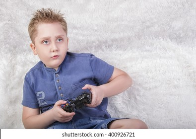 blond  White boy playing video games