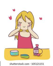 A blond woman applying moisturizer cream on her face. Funny cartoon illustration
