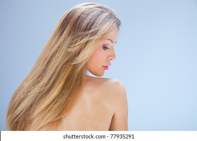 blond woman beauty  portrait, profile,  studio shot
