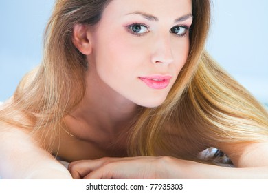 blond woman beauty  portrait, studio shot