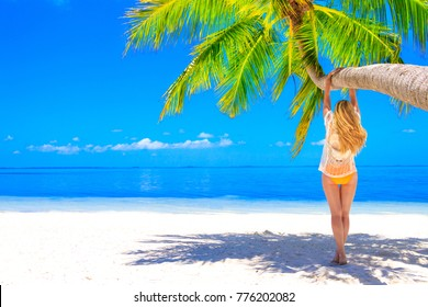 Blond woman with bikini hanging on the palm tree on the sand beach