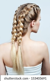 Blond woman with braid hairstyle