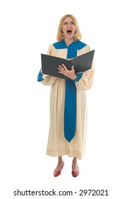Blond woman in a choir robe holding a music folder and singing.