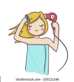 A blond woman combing and drying her blond hair with hairdryer. Funny cartoon illustration