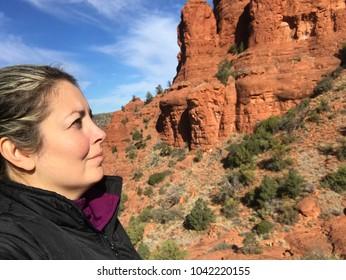 Blond Woman Hiking in Sedona, AZ USA