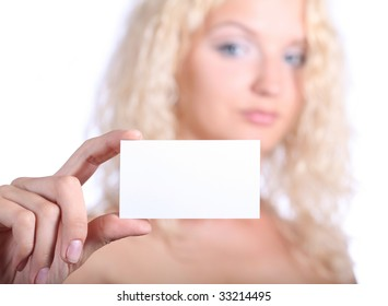 blond woman holding blank card