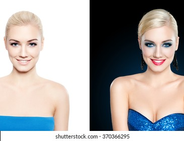 Blond woman with make up, and no make up - glamour concept