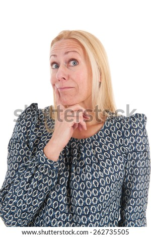 Blond Woman Mature Age Surprised Isolated Stock Photo Edit Now