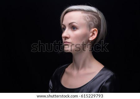 Shaved blonde close up