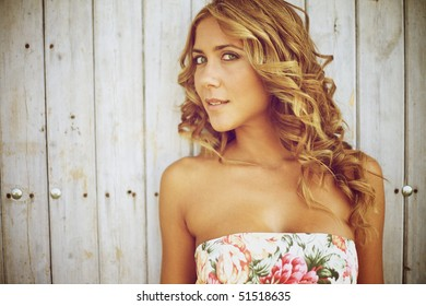 Blond woman standing