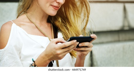 Blond Woman Surfing Internet Concept