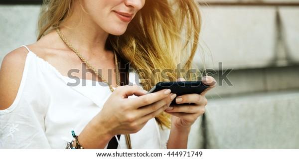 Blond Woman Surfing Internet Concept