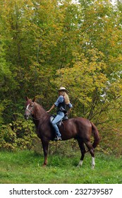 Blond woman wearing a cowboy hat ride the white horse