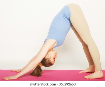 blond woman working yoga exercise
