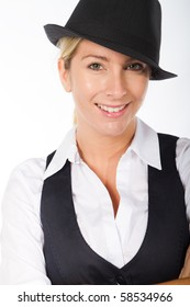 blond young businesswoman portrait with hat