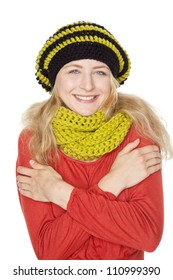 blond young woman with hat and wool scarf
