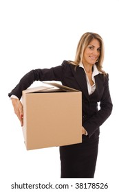 Blond young woman holding a cardboard box