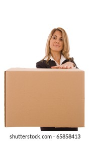 Blond young woman holding a cardboard box (with space for text)