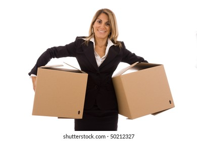 Blond young woman holding two cardboard box (with space for text)