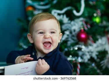 blonde baby portrait - laughing baby