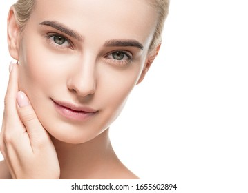 Blonde beauty girl female cosmetic concept isolated on white healthy skin