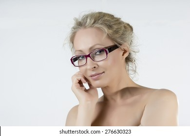 Blonde beauty with glasses