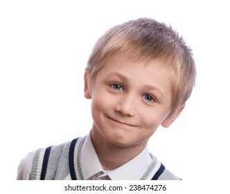 Blonde boy, 8 years old, isolated on a white background