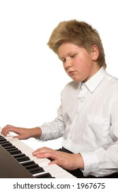 blonde boy playing piano; isolated on white background