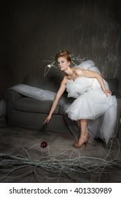 Blonde bride in a creative way