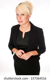 Blonde business woman in a black suit