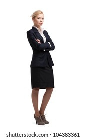 Blonde businesswoman in a black suit, isolated on white background