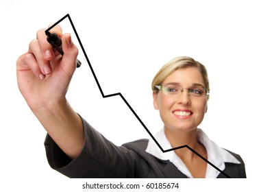 Blonde businesswoman draws business charts