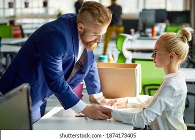blonde caucasian female assistant is suffering from sexual harassment and abuse at work, psysical touch