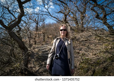 Blonde caucasian girl in the woods of Boppard