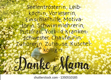 Blonde Child, Daisy, Calligraphy Danke Mama Means Thank You Mom