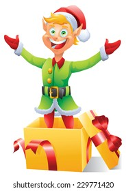 Blonde Christmas elf popping out of box present  isolated