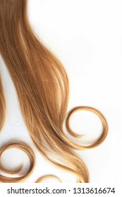 Blonde Curls hair isolated on white background. Strand of light or red hair, hair care, concept