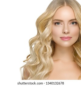 Blonde curly beauty woman healthy skin and beautiful hairstyle isolated on white