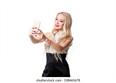 blonde doing selfie on isolated white background
