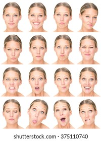 blonde european adult caucasian woman collection set of face expression like happy, sad, angry, surprise, yawn isolated on white
